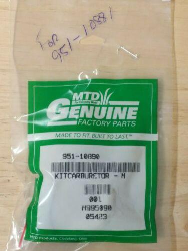 MTD Carb Kit Major 951-10890 OEM NEW!