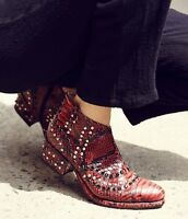 Free People Red Black Snakeskin Print Western Jewel Ankle Boots 38/ 7.5 -8