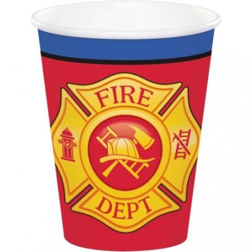 chaud//froid Paper Cups 8 Per Pack Pompier Anniversaire environ 255.14 g Flaming camion de pompiers 9 Oz