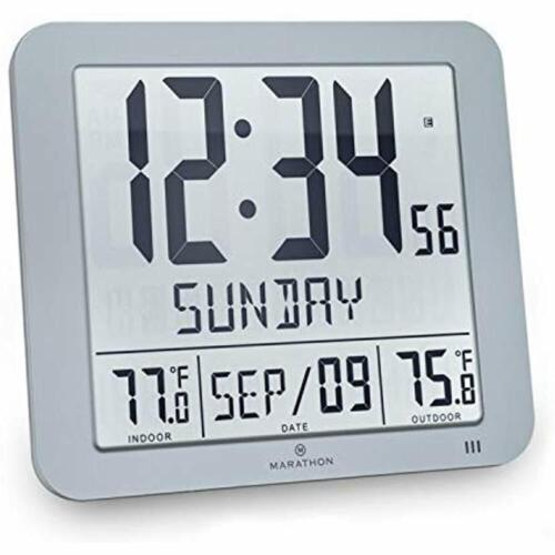"""Marathon CL030027-FD-GG Weather Stations Slim Atomic Wall Clock With Full And /"""""""