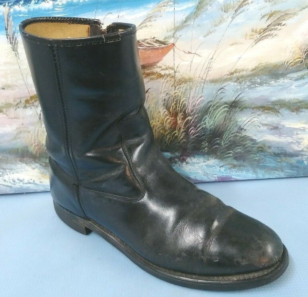 Vintage SEARS 86405 Black Leather Engineer Motorcycle Boots 9 D