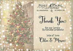 Personalised Childrens Vintage Postcard Christmas Thank You Cards