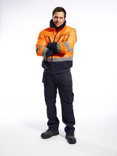 Portwest Hi Vis 3 in 1 Pilot Jacket Coat Bomber Fur Lined Winter Work Wear PJ50