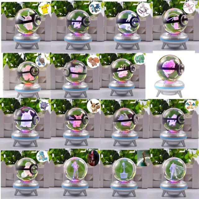 Crystal ball Pokemon Pokeball 3D LED Night light Bedroom Lamp Child Crafts Gift