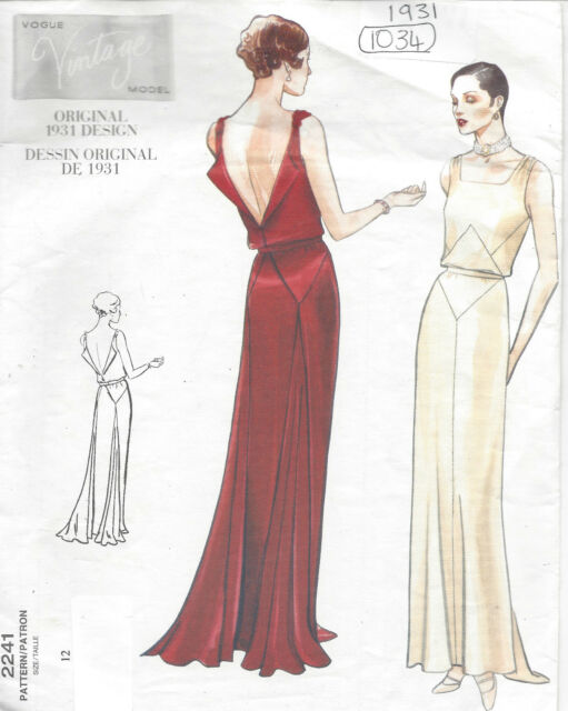 Vogue 2241 Sewing Pattern Retro 1930s Evening Gown Bridal Dress 12 ...