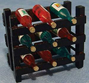 Dolls-House-Miniature-1-12th-Scale-Wine-Rack-With-9-Bottles