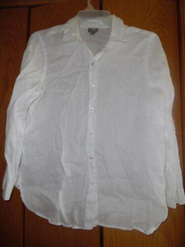 J JILL Women/'s White 100/% Linen Shirt Top Blouse Tunic Sz S