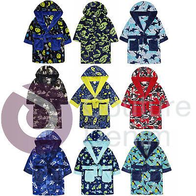 Fleece Dressing Gown Kids Towelling Robe Boys Bathrobe Plush Super Soft