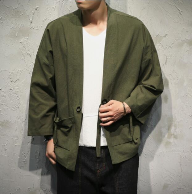 Retro Mens Summer Style 3 4 Sleeve Loose Cardigan Coat T-Shirt Outwear Plus Size