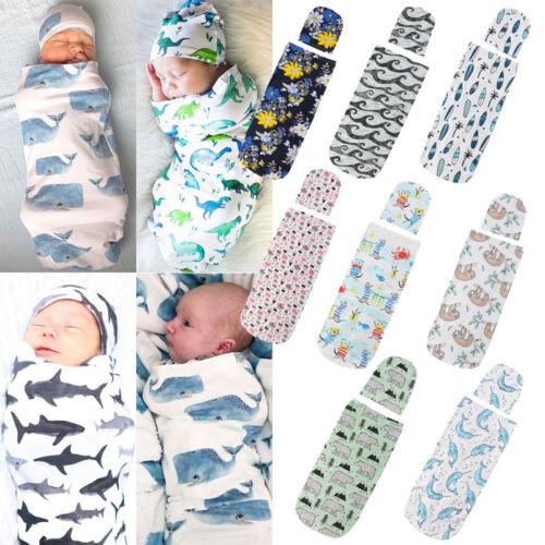 Canis Newborn Infant Baby Cartoon Sleeping Swaddle Blanket Muslin Wrap Hat Set