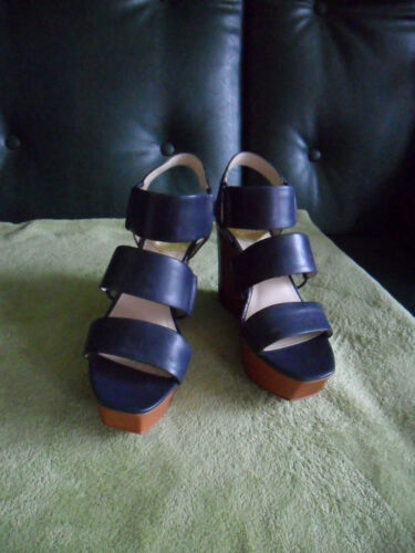 5 Wedges Size Blue Brand Camuto Heels Leather Vince Women's New cvgHpnRqg