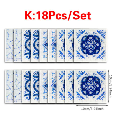 18PCS 3D PVC Mosaic Wall Stickers Waterproof Tile Sticker Kitchen//Bathroom Home