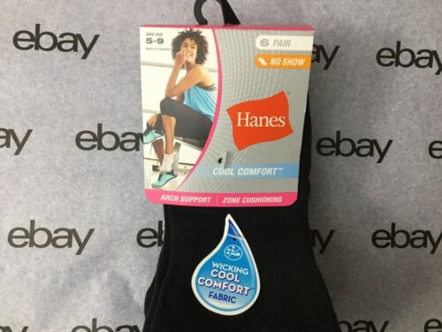 S3 NEW Hanes Womens Socks 6 Pack No Show Arch Support Cool Comfort Sz 5-9
