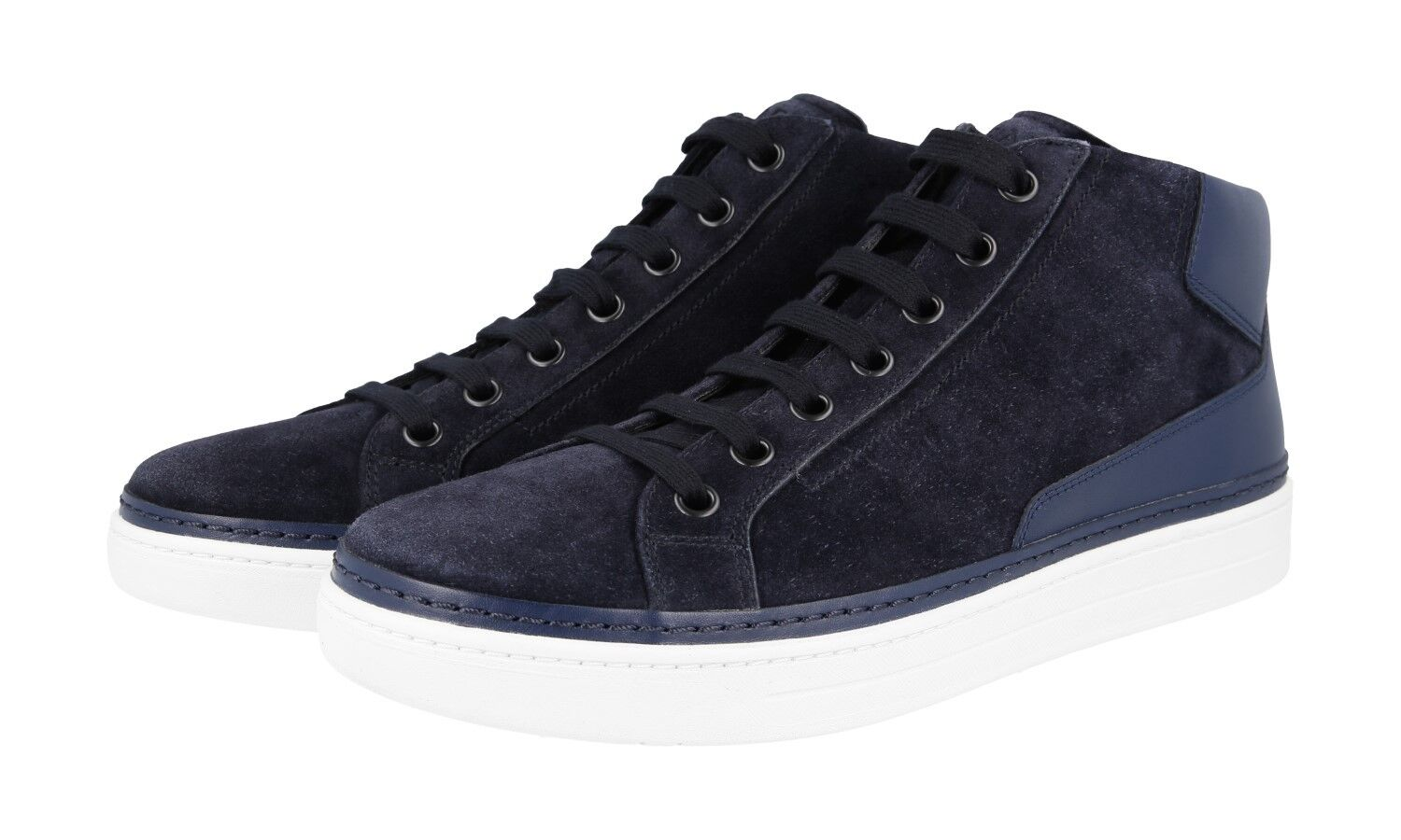 AUTH PRADA HIGH TOP SNEAKERS SHOES 4T2863 blueE SUEDE NEW 10 44 44,5