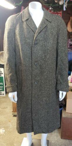 VINTAGE Harris Tweed SCOTTISH WOOL OVERCOAT Handwo
