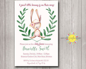 d9c10af12049 Custom Baby Shower Invitation Boho Cute Bunny Rabbit Green Leaf Girl ...