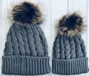 Matching MUM and BABY KNITTED HAT Set Grey Bobble WINTER Hat 691df4e179f