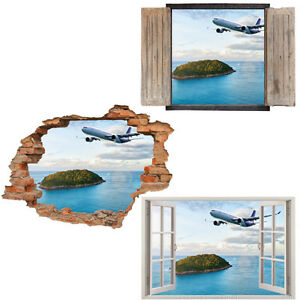 Window-Wall-Sticker-Decal-Vinyl-3D-Plane-Flying-Passenger-Airplane-home-art-room