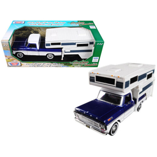 1969 Ford F-100 Pickup Truck with Slide-In Camper Blue Metallic and White 1//24 D