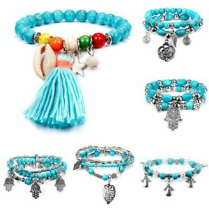 New-Retro-Silver-Shell-Tassel-Beaded-Bracelet-Turquoise-Bangle-Women-Jewellery