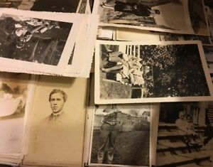 200 Old Photos Lot BW Vintage Photographs Snapshots Black White