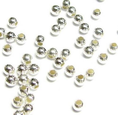 Grano de espaciador Plata Esterlina Redondo Transparente 2 mm 3 mm 4 mm 12 mm tamaño muchos