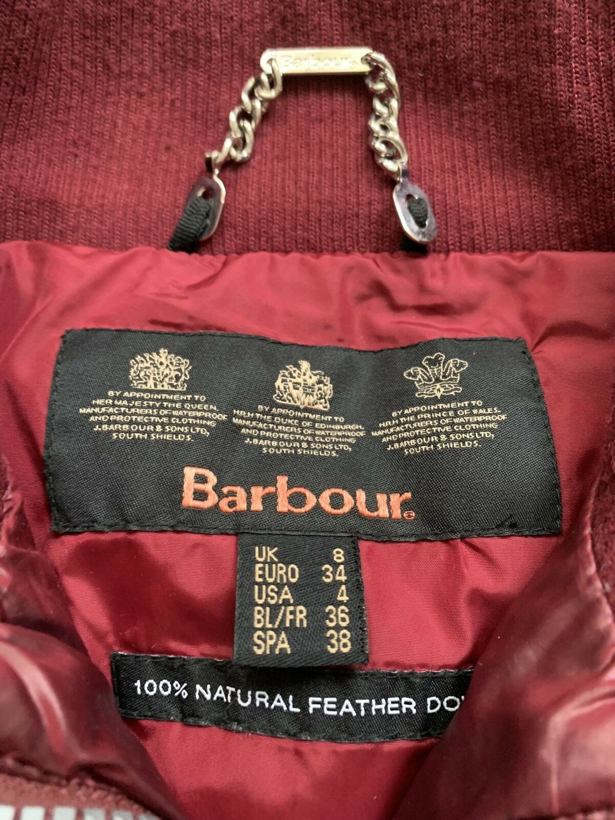 Barbour Heritage Mercury Down Puffer Bomber Red - image 2