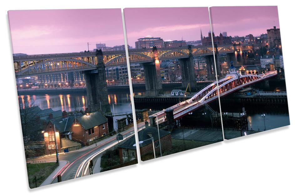 Newcastle Sunset Stadt Quayside TREBLE CANVAS Wand Kunst Bild Drucken