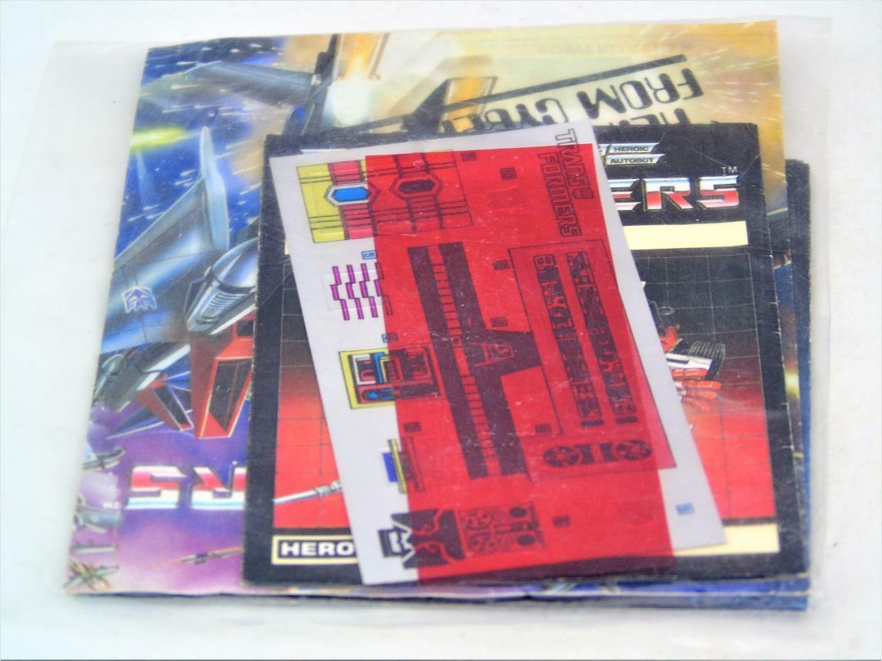 Transformers Original G1 1984 Paquete De Instrucciones Pegatina Sellado de trinquete