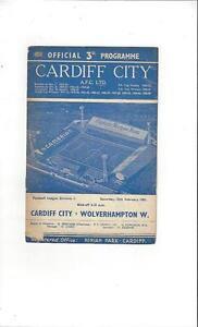 Cardiff City v Wolves Football Programme 196061 - Lincolnshire, United Kingdom - Cardiff City v Wolves Football Programme 196061 - Lincolnshire, United Kingdom