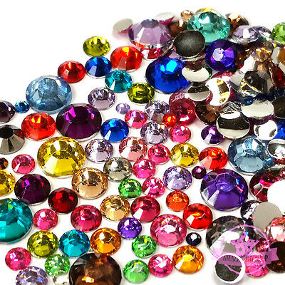 200 pcs 2mm-6mm Resin round Rhinestone Flat back nail art Mix COLOR & SIZE M1-14