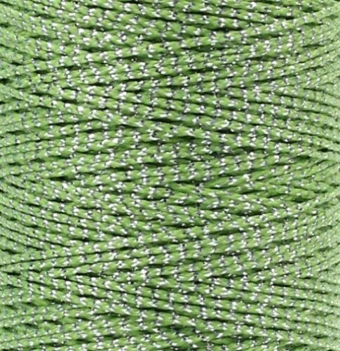 Wachsband Polyester 1mm Silbrig Perlenschnur gewachst Forellenfaden Sattlergarn
