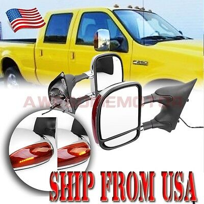 Power Heated Towing Extend Mirror LED Light For 99-07 Ford F250-550 SuperDuty AM