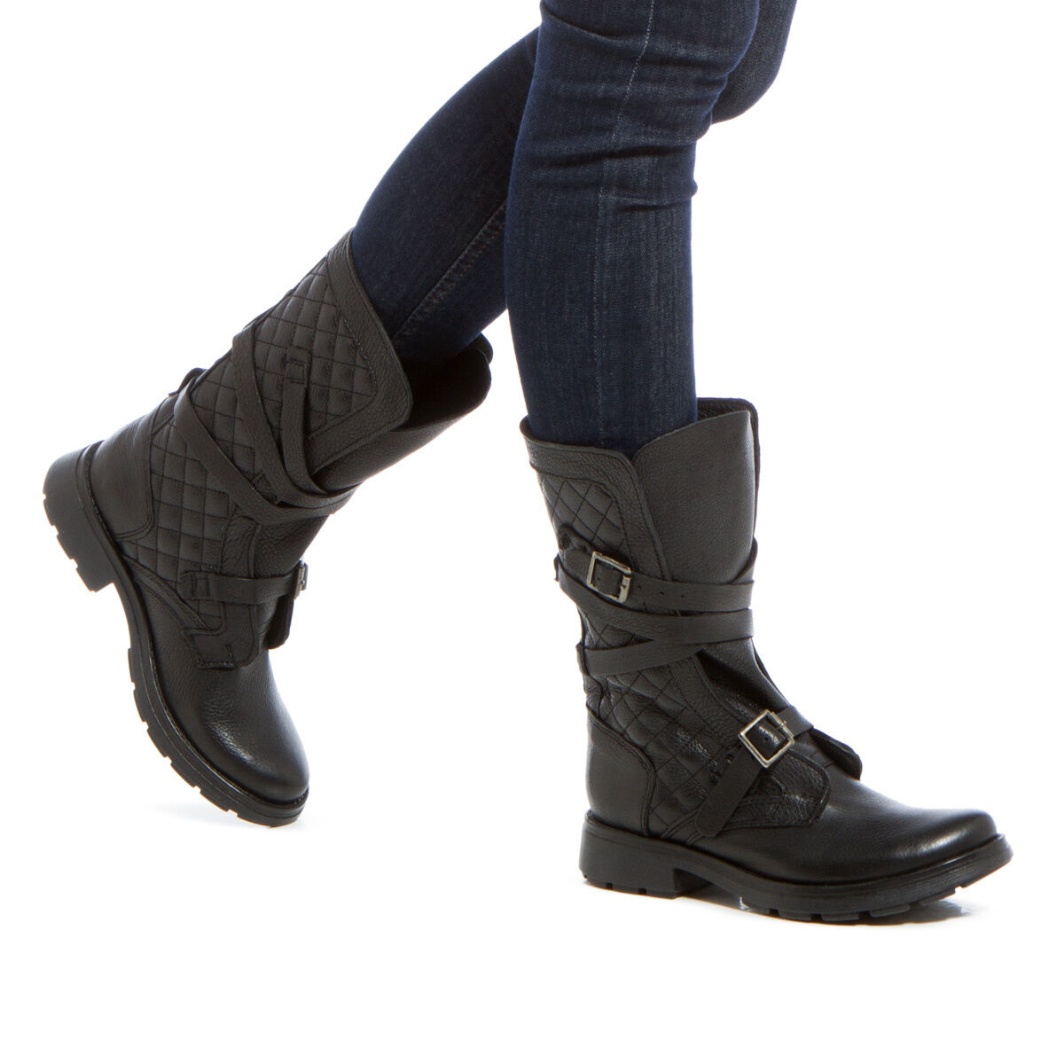 NEW Quilted Genuine Leather Leather Leather Boot by Steve Madden w  Adjustable Buckled Straps 01444e