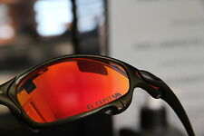"Oakley + CUSTOM JULIET CARBON + RUBY RED ""The CAPTAIN"" LENS + RARE ++ RED PADS++"