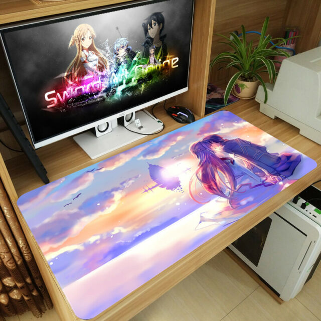 Sword Art Online Asuna Yuuki Kirito Anime Large Mouse Pad Keyboard Gaming Mat