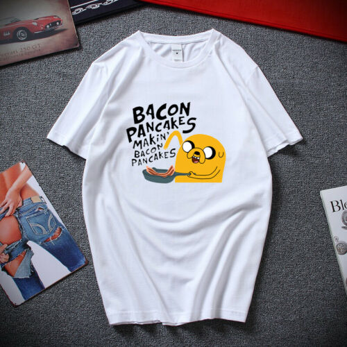 Mens Womens Jake and Finn Bacon Pancakes Tee Tops Adventure Time T Shirt S-2XL