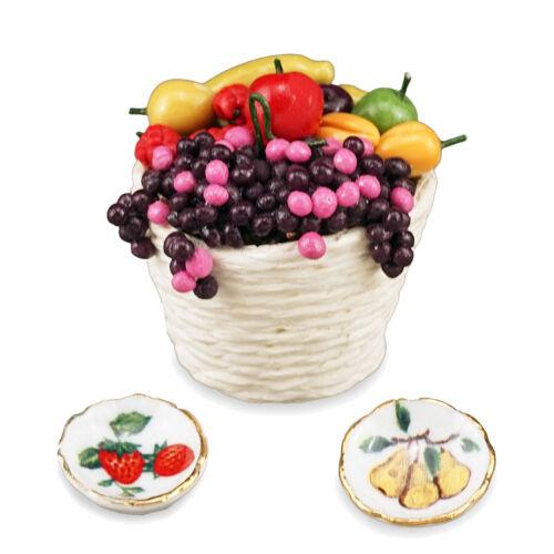 Reutter porcelana cesta de frutas//fresh fruit Basket set muñecas Tube 1:12 tipo 1.482//8