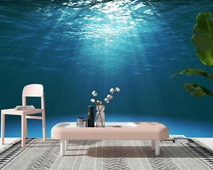 Details about 3D Dark Blue Ocean Surface Self-adhesive Wall Murals Bedroom  Wallpaper Decor