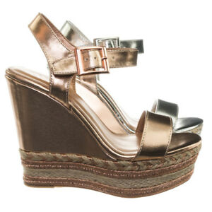 606df505aa6 Details about Choice26 Espadrille Jute Wrap Metallic Woven Braid Platform  Wedge Sandal