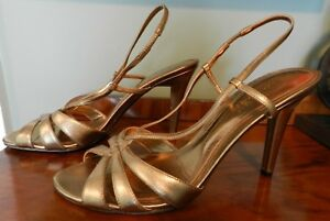 8d82d375b53 Image is loading Ralph-Lauren-Gold-High-Heels-Strappy-Sandals-Size-