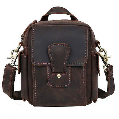 Men's genuine Leather Brown Shoulder Small Sling Bag Waist Belt Pack Cross Body