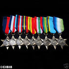 9x CAMPAIGN STAR MILITARY MEDALS GROUP SET 1939-45 PACIFIC AFRICA AIR CREW.. WW2