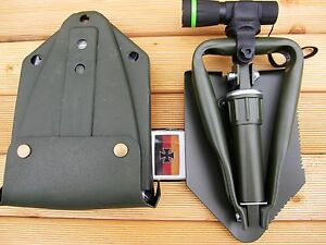 BW-KLAPPSPATEN-Cree-Zoom-Taschenlampe-Lampe-Spaten-Schaufel-Hacke-Schueppe