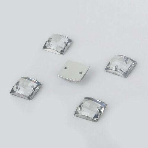 100 x clear Sew on Acrylic Square Holed Diamante Crystal Gems Rhinestone 10mm #6