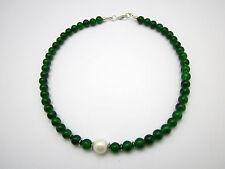 Schöne grüne Aventurin Collier Halskette, Schmuck necklace 925 silver