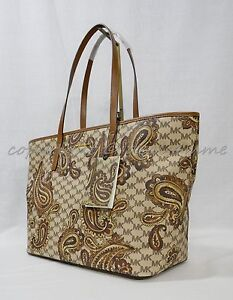 49c1002f96741 NWT Michael Kors Studio Paisley EMRY Large Top Zip Tote in Luggage ...