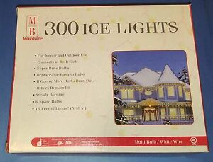 Box-Merry-Brite-300-Multi-Color-Bulb-Ice-Lights-White-Wire-18-Ft-Christmas-New