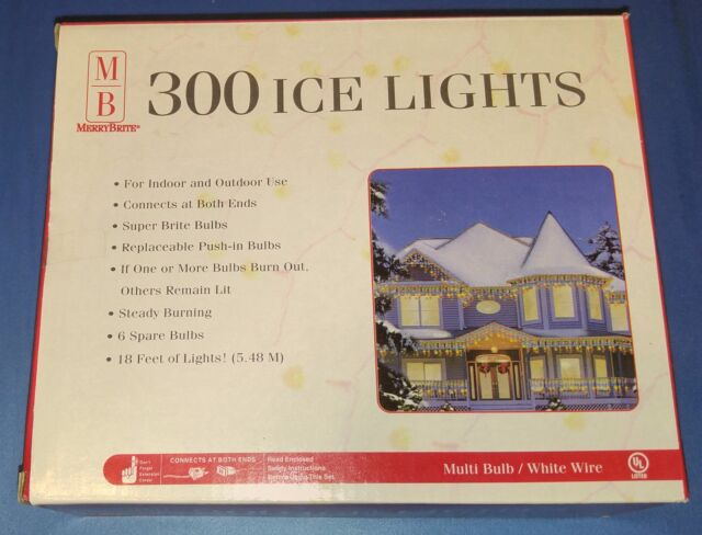 Box Merry Brite 300 Multi Color Bulb Ice Lights White Wire 18 Ft Christmas New
