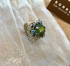 SORRELLI-Studded-Crystal-Band-Ring-Antique-Silver-tone-SEA-GLASS-Pre-Owned-90